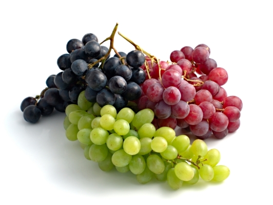 three branches of grape in different colours
